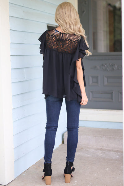 Lucky Lady Top - Black womens trendy black shirt dressy closet candy boutique