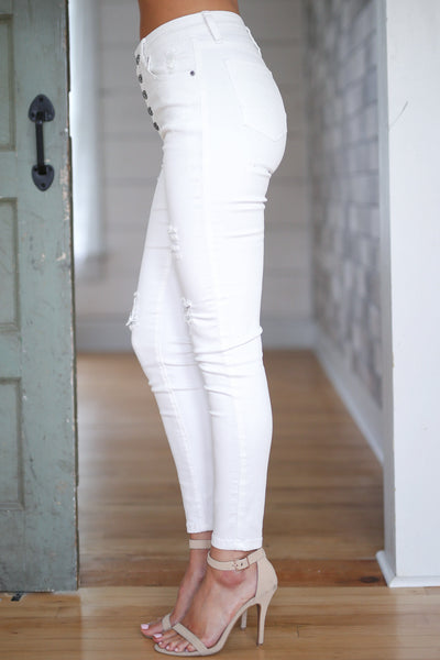 New York High Rise Jeans White womens white skinny denim button up closet candy