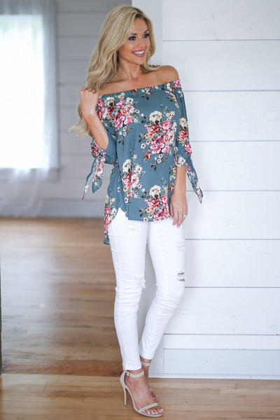 You Make It Easy Top Sage womens off shoulder floral shirt closet candy