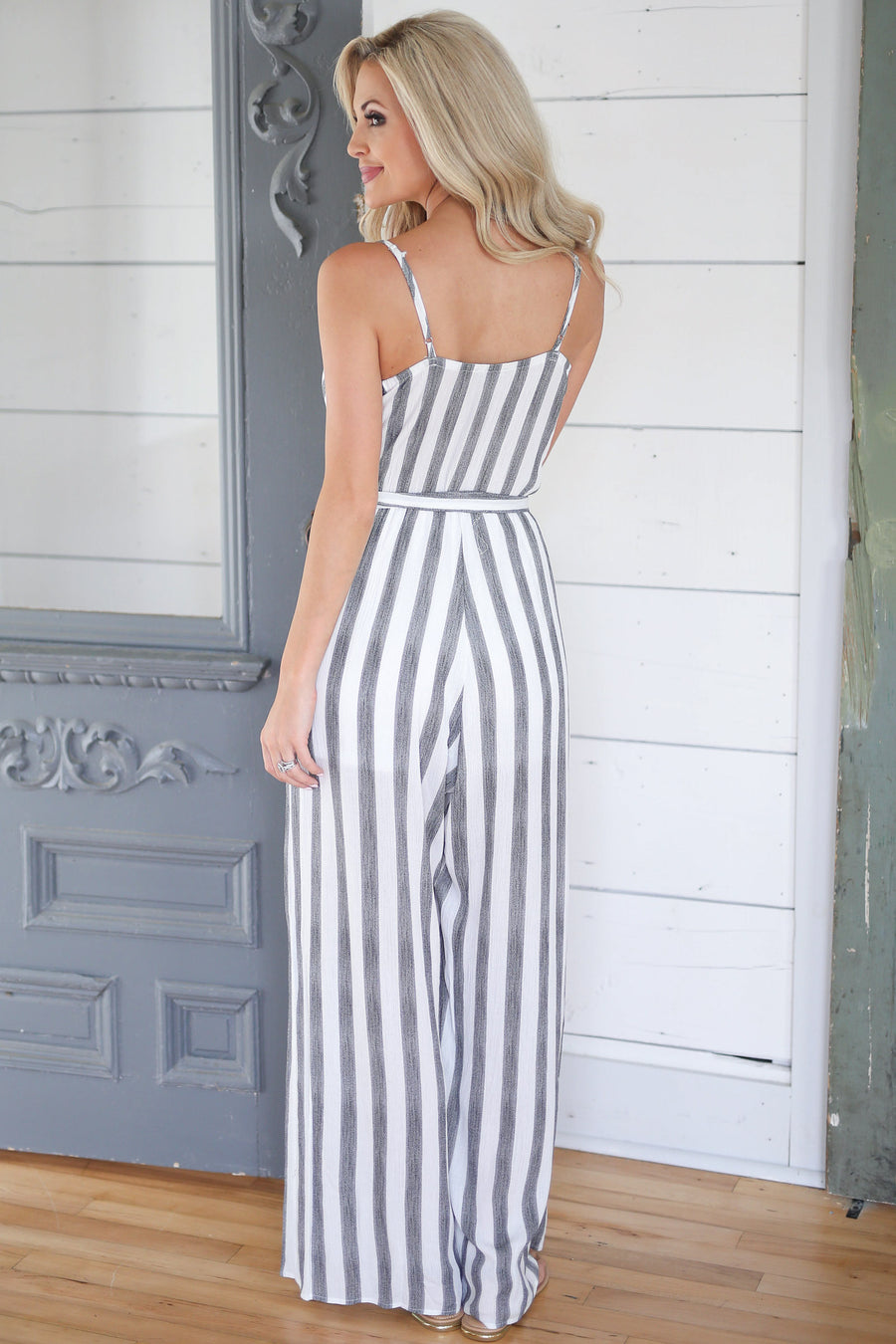 Santa Monica Jumpsuit - Black/White stripe surplice jumpsuit, Closet Candy Boutique 1