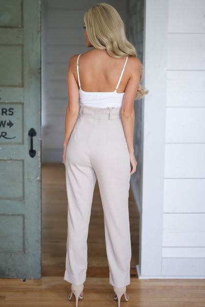 Girl's Getaway Jumpsuit - chic taupe v-neck jumpsuit, back, Closet Candy Boutique