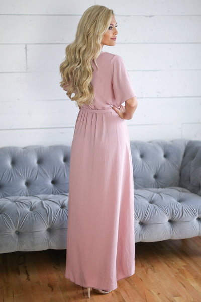 First Love Dress - Rose high low surplice dress, back, Closet Candy Boutique