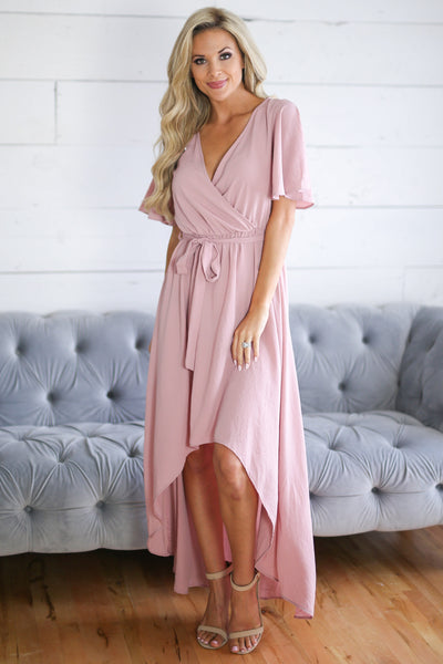 First Love Dress - Rose high low surplice dress, outfit, Closet Candy Boutique