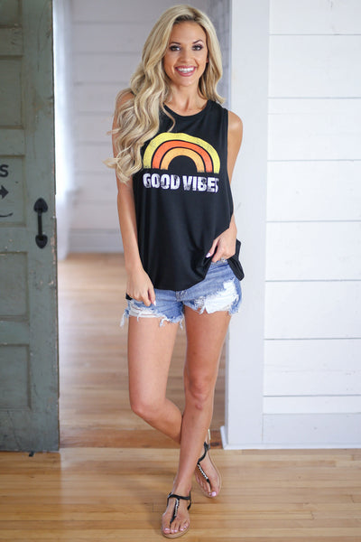 """Good Vibes"" Graphic Tank - Black good vibes tank top, outfit, Closet Candy Boutique 4"