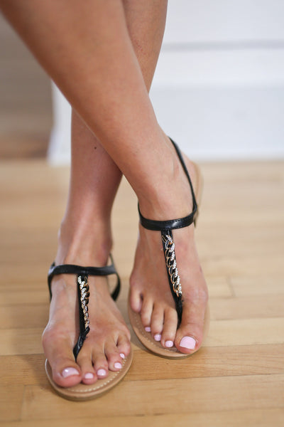 Say You Will Sandals - Black T-strap chain detail sandals, front, Closet Candy Boutique