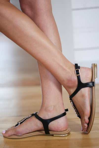 Say You Will Sandals - Black T-strap chain detail sandals, side, Closet Candy Boutique