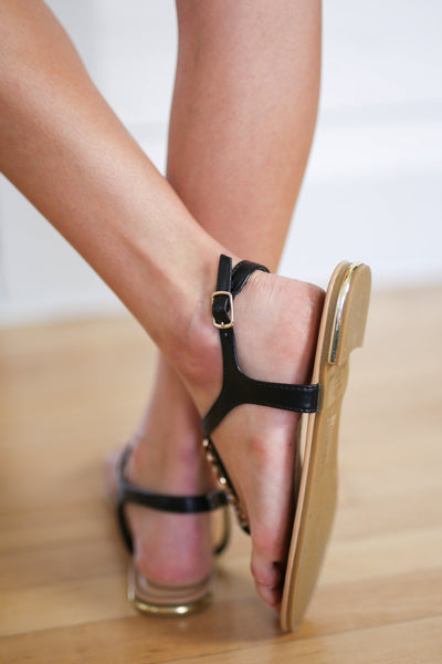 Say You Will Sandals - Black T-strap chain detail sandals, back, Closet Candy Boutique