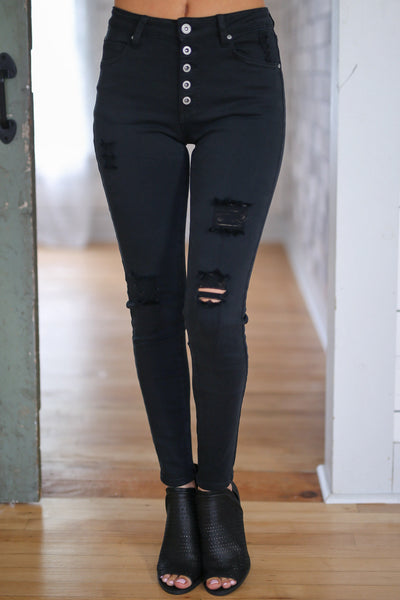 New York High Rise Jeans - Black distressed, exposed button, high-rise skinny jeans closet candy boutique 3