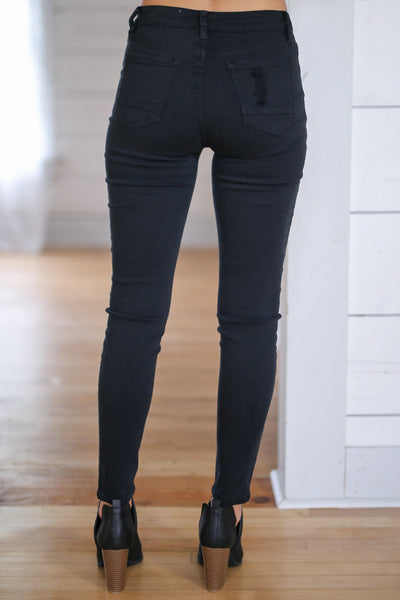 New York High Rise Jeans - Black distressed, exposed button, high-rise skinny jeans closet candy boutique 2