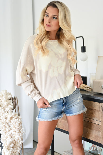 Coronado Beach Tie Dye Top - Natural womens trendy cropped long sleeve tie dye top closet candy front 2