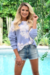 Coronado Beach Tie Dye Top - Lavender womens trendy cropped tie dye long sleeve top closet candy front