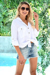 Welcome To The OC Top - Ivory womens trendy button up long sleeve collared top closet candy side