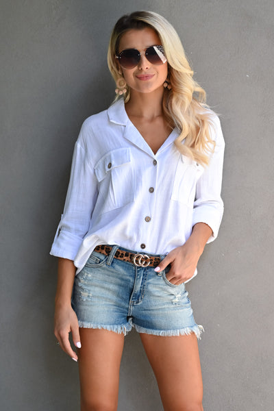 Welcome To The OC Top - Ivory womens trendy button up long sleeve collared top closet candy front