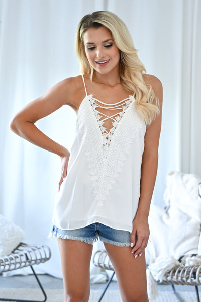 Time to Switch it Up Cami - White womens trendy reversible lace detail tank top closet candy front