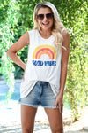 """Good Vibes"" Graphic Tank - Ivory womens casual cut off graphic top closet candy front 3"