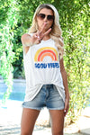 """Good Vibes"" Graphic Tank - Ivory womens casual cut off graphic top closet candy front"