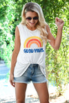 """Good Vibes"" Graphic Tank - Ivory womens casual cut off graphic top closet candy front 2"