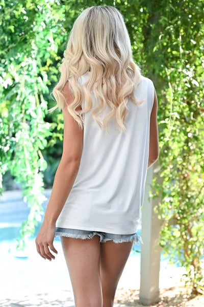 """Good Vibes"" Graphic Tank - Ivory womens casual cut off graphic top closet candy back"