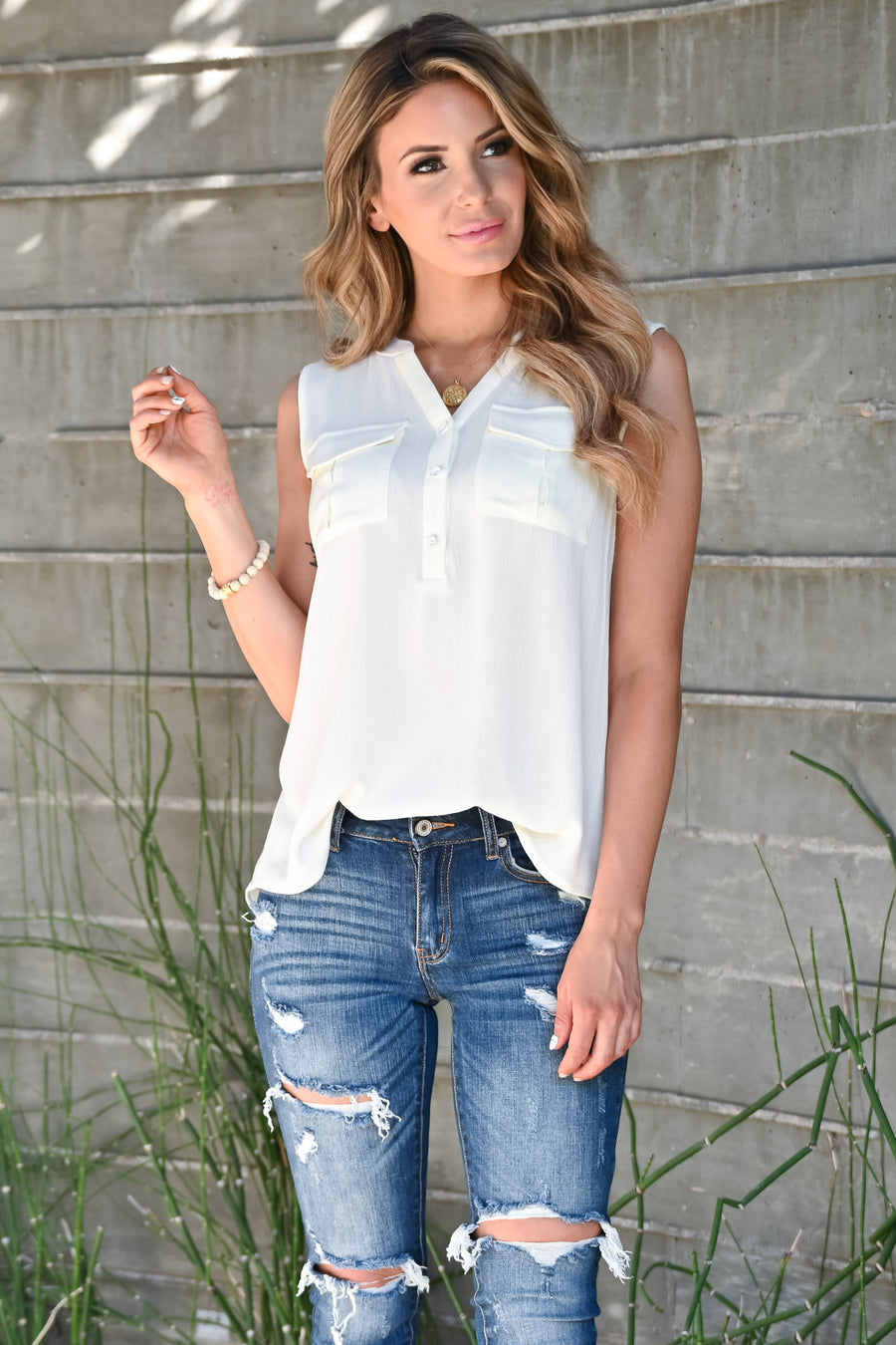 Midnight Sky Top - Ivory womens trendy sleeveless notch vneck closet candy front