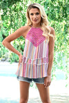 Shades of Summer Tank - Multi womens trendy crochet detail striped halter tank closet candy front 3