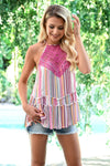 Shades of Summer Tank - Multi womens trendy crochet detail striped halter tank closet candy front 2