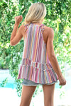 Shades of Summer Tank - Multi womens trendy crochet detail striped halter tank closet candy back
