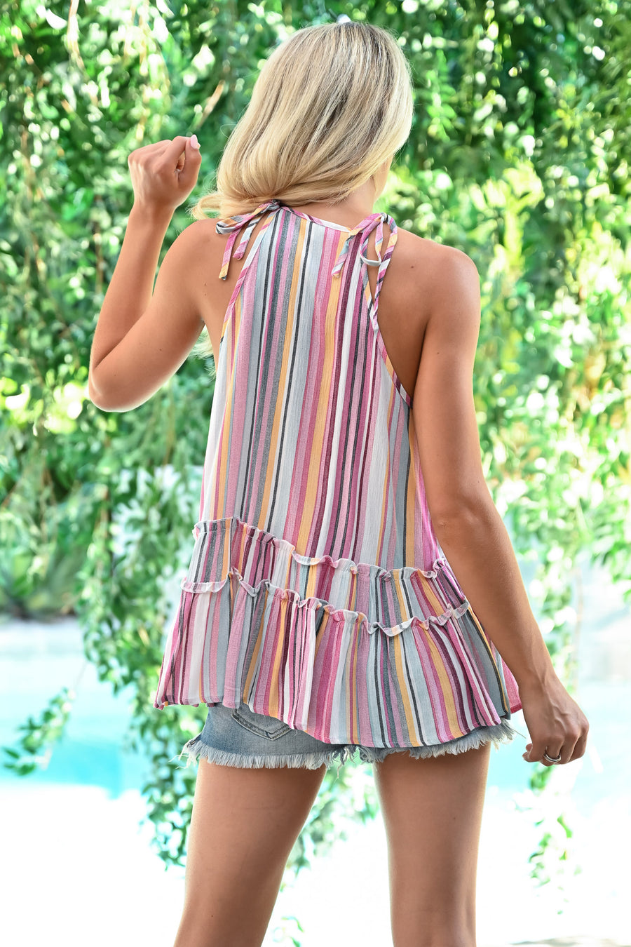 Shades of Summer Tank - Multi womens trendy crochet detail striped halter tank closet candy front