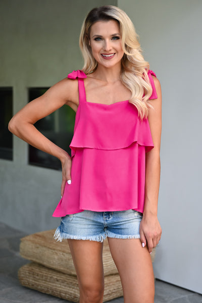 Do It For You Top - Fuchsia womens trendy self tie ruffle detail top closet candy front