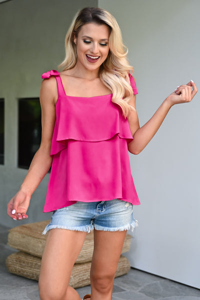 Do It For You Top - Fuchsia womens trendy self tie ruffle detail top closet candy front 2