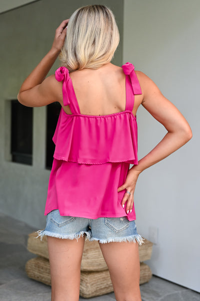 Do It For You Top - Fuchsia womens trendy self tie ruffle detail top closet candy back