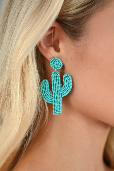 Looking Sharp Cactus Earrings - Turquoise womens trendy colorful beaded cactus earrings closet candy close