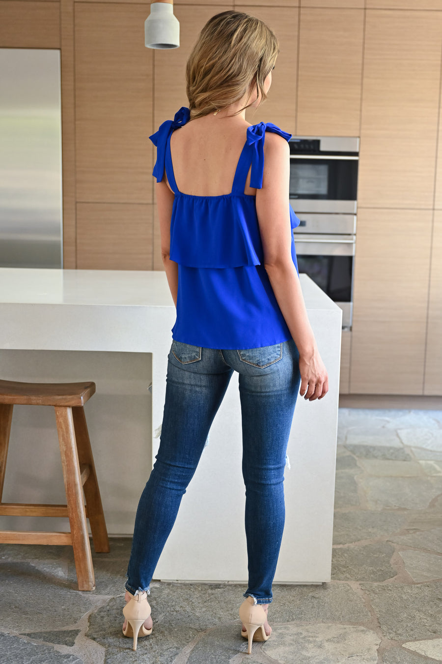Do It For You Top - Royal Blue womens trendy self tie ruffle detail top closet candy front