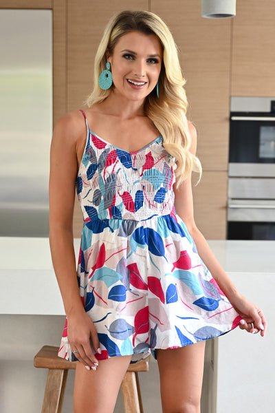 Cocktails on the Deck Romper - White womens trendy leaf print ruched bust adjustable strap romper closet candy front