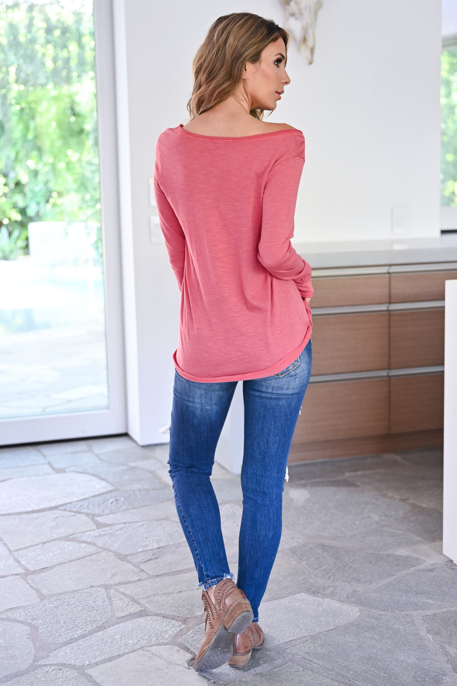 Time Is Now Top - Dusty Rose womens casual long sleeve distressed off the shoulder top closet candy front