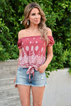 Ready for the Parade Top - Rust womens trendy paisley print off the shoulder tie front top closet candy front