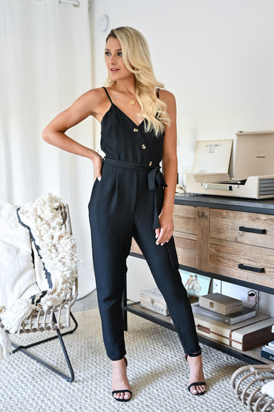 CCB Dinner in Laguna Beach Jumpsuit - Black womens trendy button detail tie front jumpsuit closet candy front 2