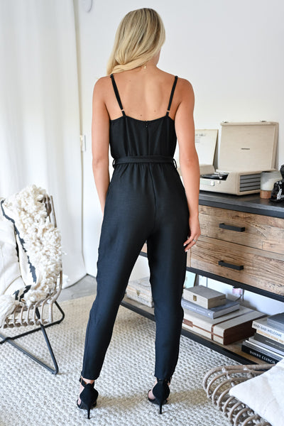 CCB Dinner in Laguna Beach Jumpsuit - Black womens trendy button detail tie front jumpsuit closet candy back