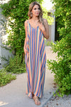 Summer Lovin' Maxi Dress - Multi womens trendy striped adjustable strap long dress with pockets closet candy front 2