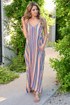 Summer Lovin' Maxi Dress - Multi womens trendy striped adjustable strap long dress with pockets closet candy front
