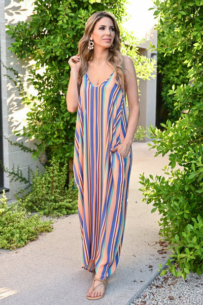 Summer Lovin' Maxi Dress - Multi womens trendy striped adjustable strap long dress with pockets closet candy front 3