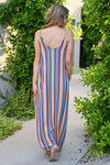 Summer Lovin' Maxi Dress - Multi womens trendy striped adjustable strap long dress with pockets closet candy back
