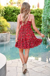 Making Plans Floral Dress - Red womens trendy tie front floral dress with ruffle hem closet candy back