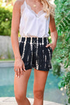 Go Getter Tie Dye Shorts - Navy womens casual drawstring tie dye shorts closet candy front close