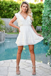 Make You Mine Dress - Ivory womens trendy crochet lace detail short dress closet candy front