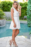 Make You Mine Dress - Ivory womens trendy crochet lace detail short dress closet candy side