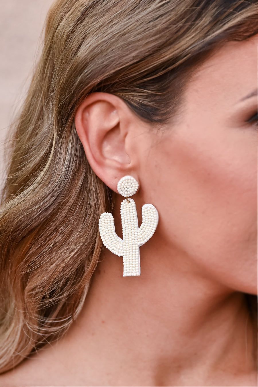 Looking Sharp Cactus Earrings - Ivory womens trendy beaded cactus earrings closet candy 1