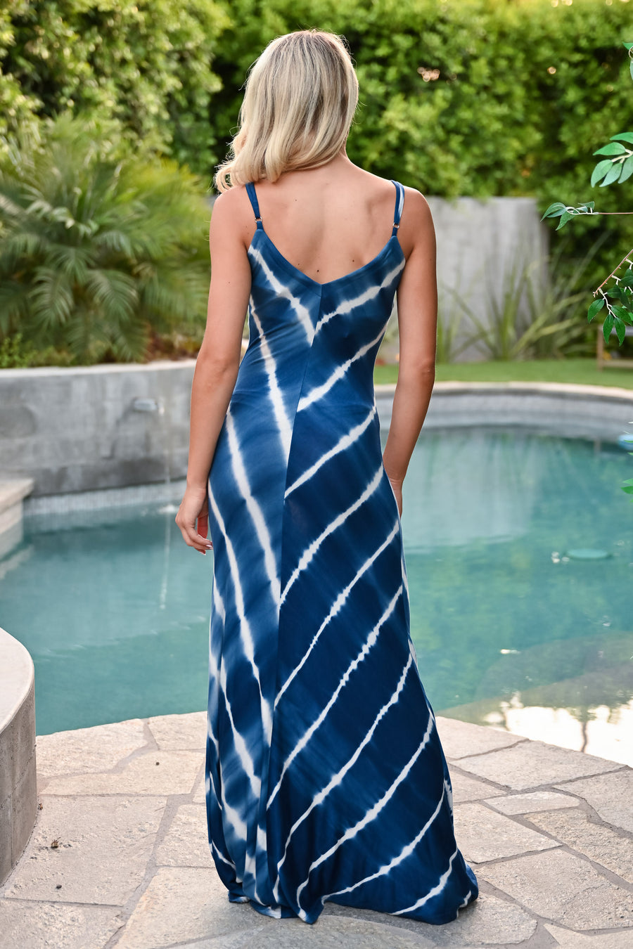 Meet Me In The Deep End Maxi Dress - Blue womens trendy tie dye adjustable strap long dress closet candy front