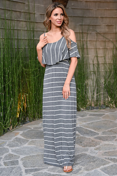 Magic in the Air Maxi Dress - Charcoal womens trendy cold shoulder striped long dress closet candy side