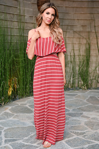 Magic in the Air Maxi Dress - Rust womens trendy striped cold shoulder ruffle long dress closet candy front
