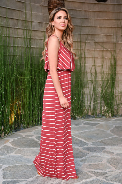 Magic in the Air Maxi Dress - Rust womens trendy striped cold shoulder ruffle long dress closet candy side